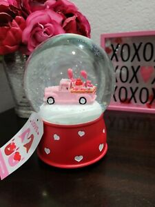Valentines Day Pink Truck MUSICAL Snowglobe Snow Globe NEW