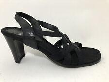Mootsie Tootsie Black Strappy Sip On Heels Sandals Shoes 7.5