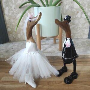 Wedding Ducks Love Birds Hand Carved Wooden Bamboo Root Bride & Groom