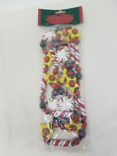Vintage Wooden Garland Peppermint Candies Red Green wood beads 6 feet long