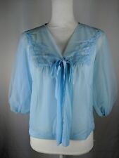Vintage Vanity Fair Womens Size Small Sheer Bed Jacket with Puffy Arms Blue