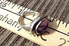 Estate .925 Silver Ring Size 8.5 Purple glass? Signed MWS Thailand Antique