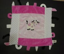Maison Chic Cow Security Baby Blanket Lovey Teether Pink Black Dots White Daisy
