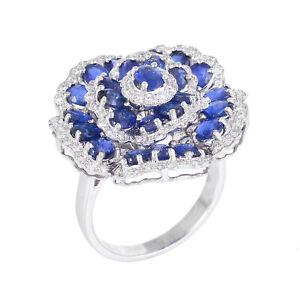 18K White Gold Sapphire Gemstone Valentine Ring Diamond Pave Fine Gift Jewelry