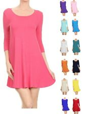 Womens Long Sleeve Scoop Neck Skater Dress UK 8-28