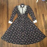 VTG 70s GUNNE SAX Jessica Mcclintock praire dress boho modest floral lace small