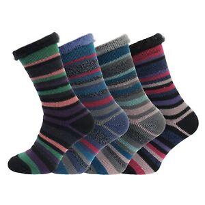 Ladies Heat Machine 2.3 Tog Brushed Thick Winter Striped Thermal Socks 4-8 UK
