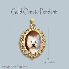 West Highland White Terrier Dog Westie - Ornate Gold Pendant Necklace