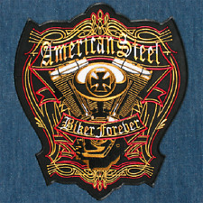 American Steel Engine Biker Forever Large Embroidered Back Patch Backpatch