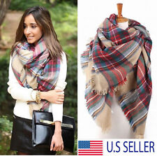 Blanket Oversized Tartan Scarf Wrap Shawl Plaid Cozy Checked Pashmina Women TO