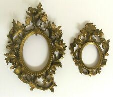 Antique Ornate Wood Gesso Gold Gilt With Raised Leaves Set Of 2 Italian? Frames