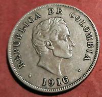 Colombia 50 Centavos 1916 plata @ Bella @