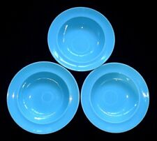 Ridgway Turquoise Blue Staffordshire 6 3/8 inch Rimmed Bowls x 3 c1955-64