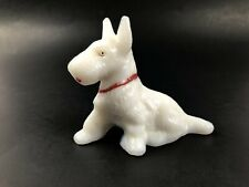 L E Smith Milk Glass Dog Figurine, Scottie Dog, West Highland White