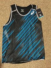 Mens Asics Top Impact Line Motion Dry Blue & Black Striped Singlet Size Large L