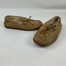 Minnetonka Mens Slippers 11 Moccasin Slip On Suede Shearling Lined Rubber Sole
