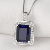 Women Emerald Blue Sapphire White Cz 925 Sterling Silver Pendant Chain Necklace