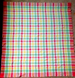 LARGE VINTAGE MULTICOLOURED CHECKED PATTERN COTTON BLEND TABLECLOTH VGC