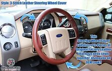 2008 2009 Ford F250 F350 King Ranch-Leather Steering Wheel Cover -3-Stitch Style