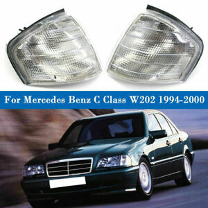 Fits Mercedes Benz W202 1994-2000 Pair Clear Corner Signal Lights Fast Shipping