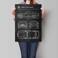BMW 3 E36 Cabrio Car Poster Retro Patent Blueprint Art Print