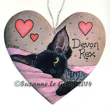 Devon Rex cat art sign painting black smoke from original by Suzanne Le Good