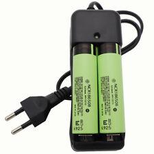 2X 18650 NCR18650B 3400mAh 3.7V Li-ion batteria ricaricabile ad alta scarico & Caricabatteria