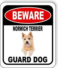 Beware Norwich Terrier Guard Dog Metal Aluminum Composite Sign