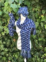 Knit Scarf Beanie With Pom Pom Hat Gloves Set Blue Unisex