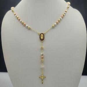 Gold Plated Rosary Necklace, Rosario Virgen de Guadalupe en Oro Laminado. 26 in