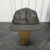 VTG 80's Louisville Mfg All Mesh Snapback Trucker Hat Cap Black Blank