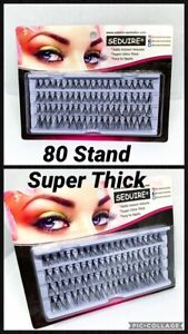 80 STAND FALSE INDIVIDUAL EYELASHES SUPER ULTRA THICK CLUSTERS FLARES MULTI BUY