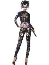 Mujer DÍA DE LOS MUERTOS SEXY Azúcar Calavera Gato Mono Disfraz Halloween M