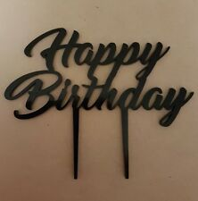 Laser Cut Black Acrylic Cake Topper - Happy Birthday