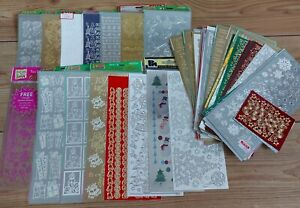 Christmas Craft Stickers Job Lot 2 Anitas Outline Gold Silver 50+ Sheets