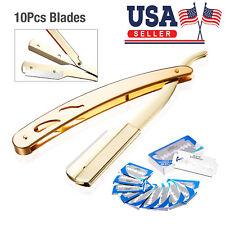 Classic Straight Steel Edge Barber Razor Folding Shaving Knife + 10 pcs Blades