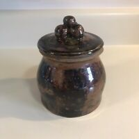 Handcrafted Stoneware Clay Pottery Artist Signed Jar With Lid Drip Glaze