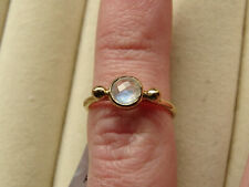 Contemporary Rainbow Moonstone Solitaire 14K Yellow Gold Vermeil Ring Size J-K/5