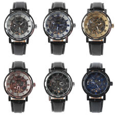 Men Classic Faux Leather Skeleton Hand-Wind Mechanical Sports Wrist Watch Eyeful