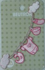 BEUTRON Iron On Motif Applique Baby Clothes on Clothes Line PINK Satin BM5057