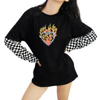 Harajuku Oversized Long Sleeve T Shirt Tops Checkerboard Patchwork Graphic Tees-