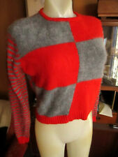 Vtg 60s Angora Lamb Trashed Red/Gray Zipback Checker Striped Scooter Sweater