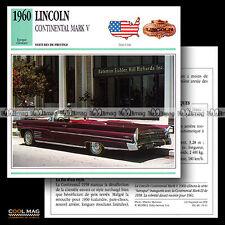 #016.11 LINCOLN CONTINENTAL MARK V (1960) - Fiche Auto Classic Car card