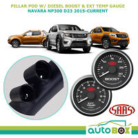 Nissan Navara NP300 D23 2015-on Pillar Pod w/ 0-30 Black Diesel Boost Ext Temp