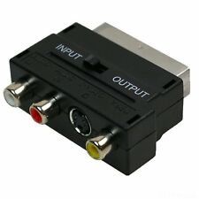 SCART a 3 RCA Phono composto con SVHS S-Video Adattatore IN/OUT Interruttore FB