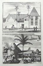 JAKARTA,JAVA,INDONESIA,SCHOOL, BRICKWORKS,CHURCHILL pair antique prints 1744.