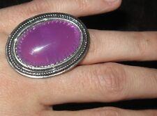 Anello Bijoux ovale grande con pietra viola - regolabile