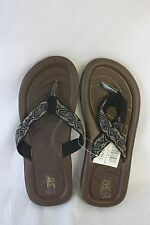 STAR Bay Sandals Black With Printed Fabric Straps NEW SZ 11