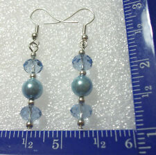Blue faceted & glass pearl beads on silver plated ear wires
