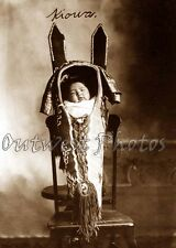 1800'S NATIVE AMERICAN INDIAN KIOWA CRADLE BOARD TRIBAL BABY PAPOOSE PHOTO